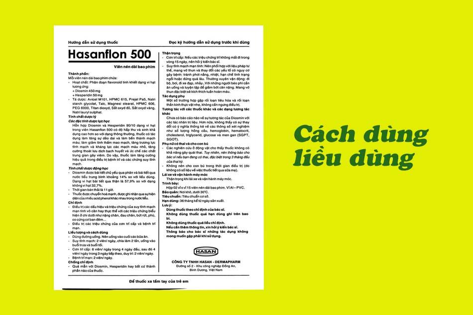 Cách dùng, liều dùng của Hasanflon 500mg